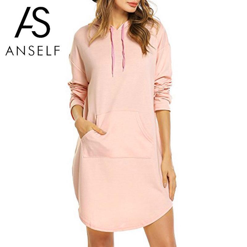 2019 Autumn Sweatshirt Women Loose Hoodies Dress Long -7351