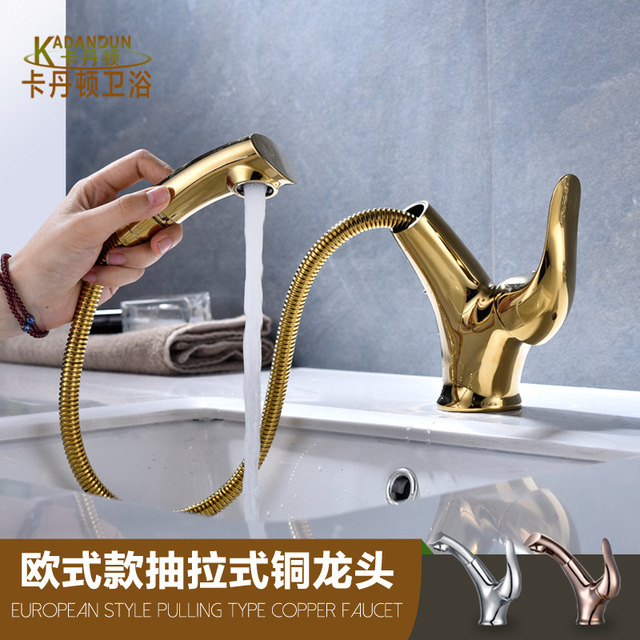 Deck Mount Swivel Kitchen Faucets Brass Electroplate Rose Gold