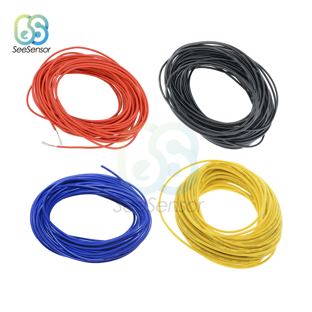 10 Meters <font><b>UL1007</b></font> PVC Wire Ultra Flexiable Cable 24AWG Wire PVC Electronic Cable Red/Black/Blue/Yellow image