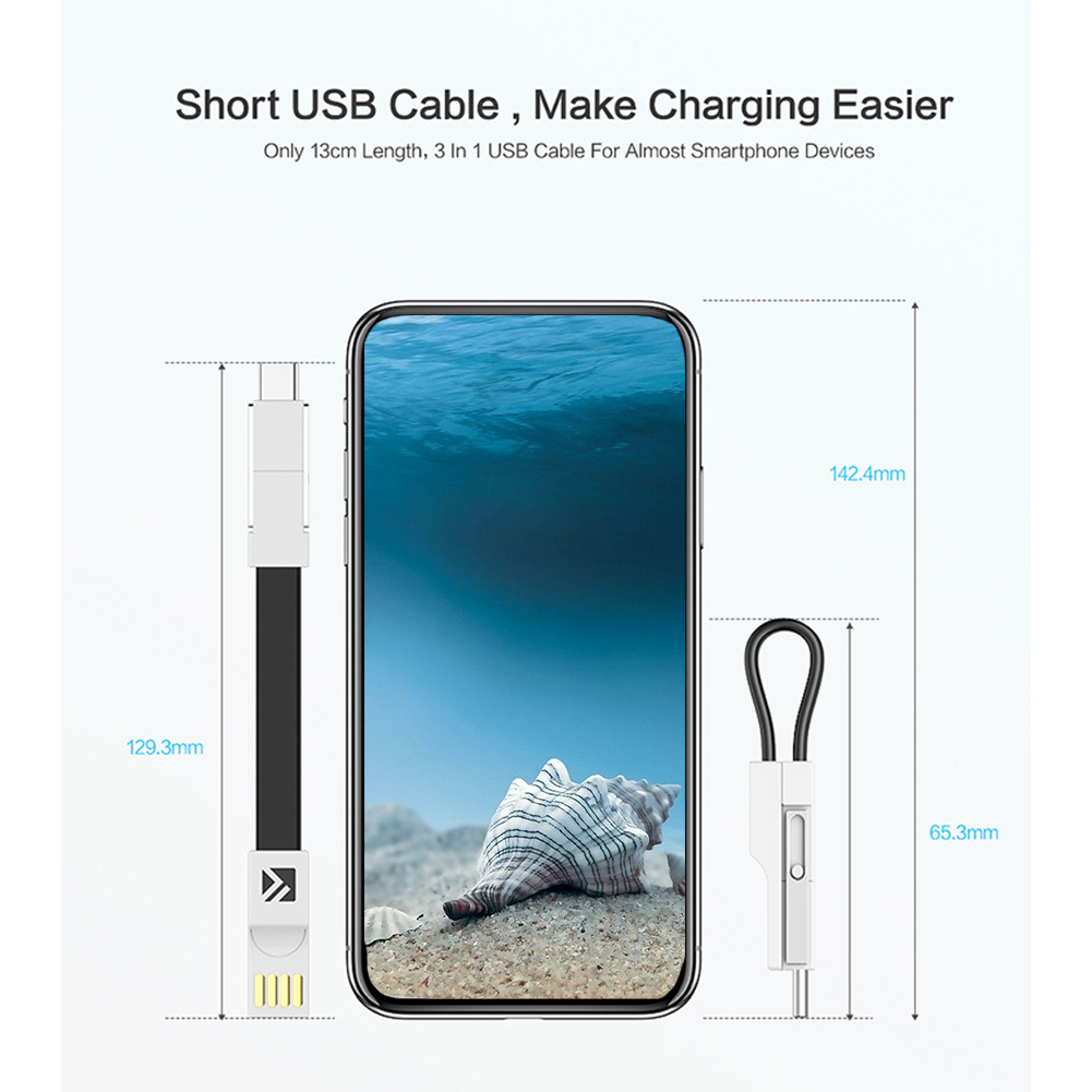 Image 5 - Magnetic Fast Charging Mobile Phone Accessories 3 In 1 Wire Data Line USB Cable Type C Portable Micro Keychain 2A For Samsung-in Mobile Phone Cables from Cellphones & Telecommunications on
