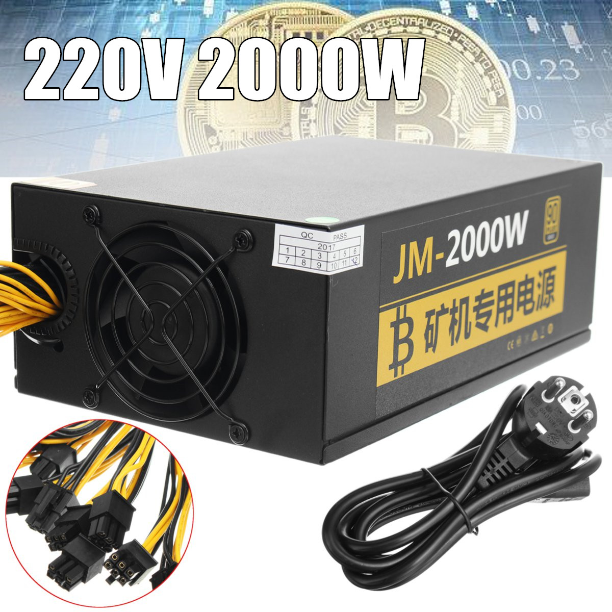 2000W Switching Power Supply 95% High Efficiency for Ethereum S9 S7 Rig Mining 180-260V for bitcoin miner asic bitcoin Mining 1800w switching power supply equipment 90 percent high efficiency power supply unit for ethereum s9 s7 l3 rig mining 180 260v