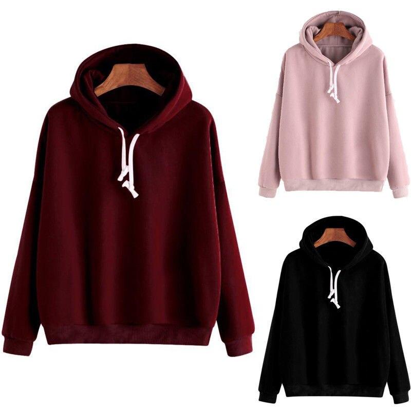 2019 Autumn Women Hoodies Sweatshirts Winter Warm Female Hooded Sweatshirt Cropped Pink Black Burgundy Hoodies Women Clothing