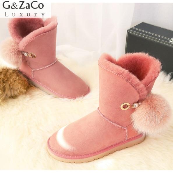 G&Zaco Luxury Winter Sheepskin Snow Boots Suede Genuine Leather Sheep Fur Mid Calf Fox Fur Ball Sweet Women Boots Female Shoes