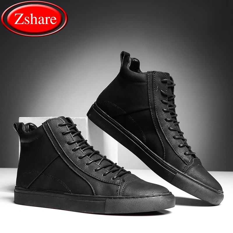 All Black High top Men s Leather Shoes Man Casual Shoes Luxury Brand Trainers Outdoor Waterproof