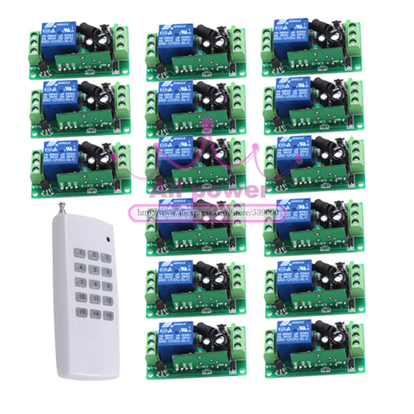 1T+15R Wireless Remote Control Switch Remote Plug Radio Switch 12V 1CH Remote Switch 315Mhz/433Mhz 1ch radio wireless remote control switch 6receiver
