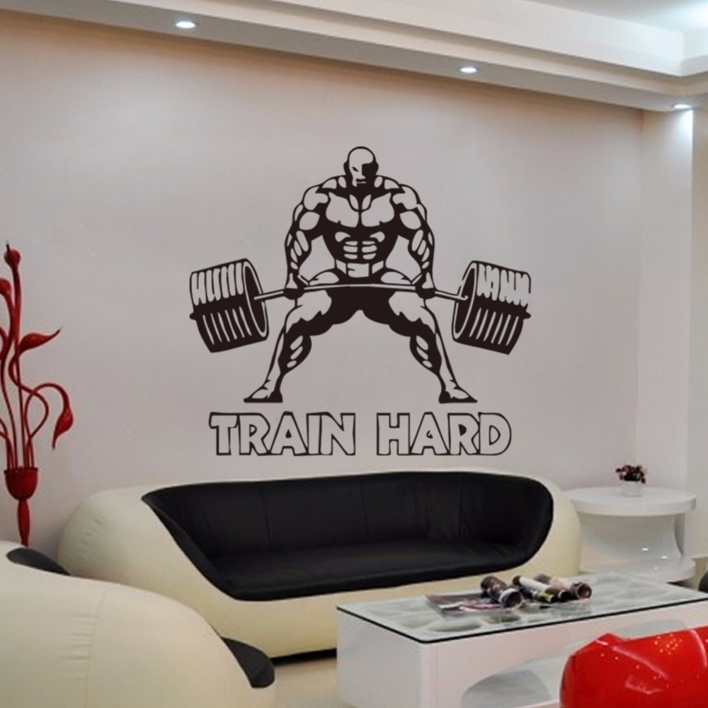 Customized Weightlifting Sports Wall Stickers Kids Room Living Room Boys Bedroom Wall Painting Sofa TV Bedside Background Decals