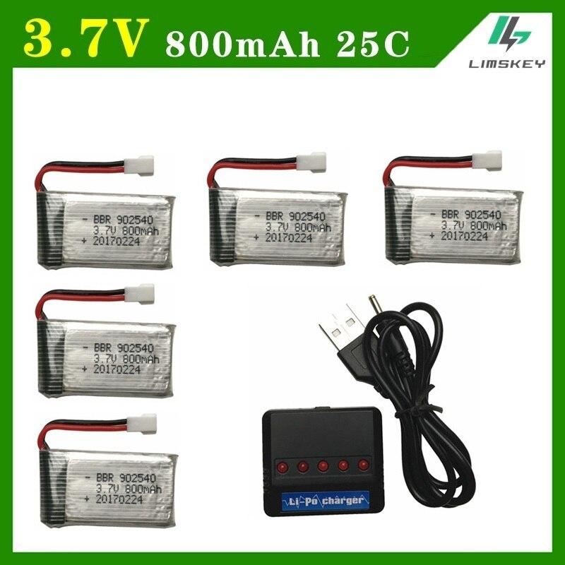 Limskey 800 mAh 3.7 V 25c Bateria + (5-em-1) conjuntos Carregador USB para SYMA X5C X5 X5HW X5HC RC Droen Qaudcopter Bateria Sobressalente Parts 3.7 v