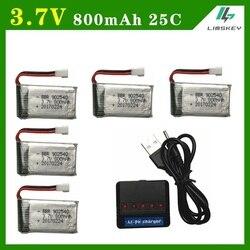 Limskey 800 mAh 3.7 V 25c Batterie + (5-en-1) USB Chargeur ensembles pour SYMA X5C X5 X5HW X5HC RC Droen Qaudcopter Batterie De Rechange Pièces 3.7 v