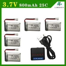 Limskey 800mAh 3.7V 25c Battery+(Five in one)USB Charger sets for SYMA X5C X5 X5HW X5HC RC Droen Qaudcopter Spare Battery Parts