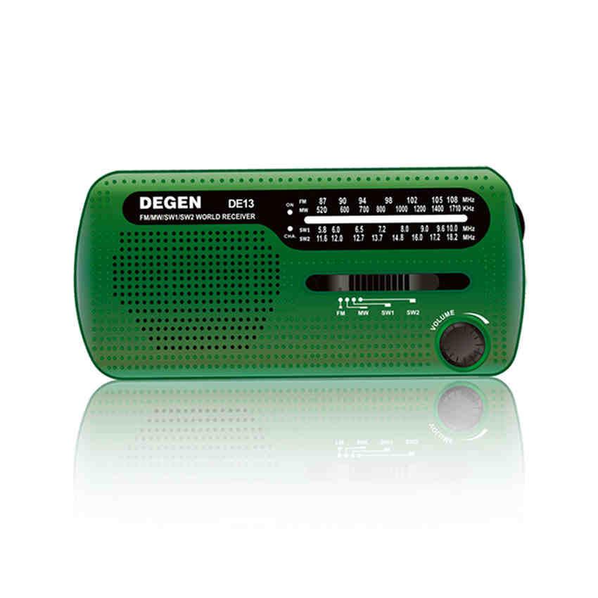 20pcs lot FREE SHIPPING DEGEN DE13 FM MW SW Crank Dynamo Solar Emergency Radio World Receiver