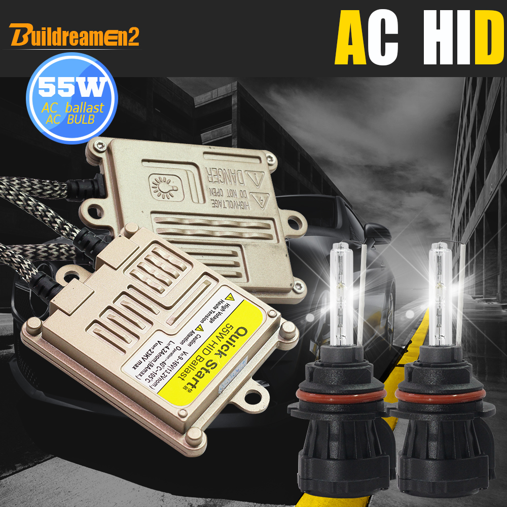 Buildreamen2 9007 Hi Lo 55W Bi Xenon Conversion AC HID Xenon Kit Ballast Bulb Harness Wire