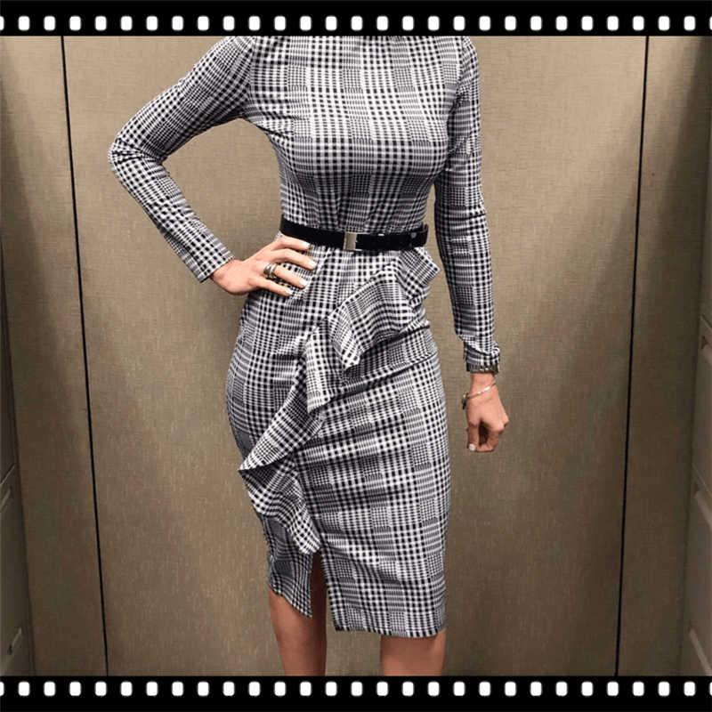 Sheinside черный и белый офисные рюшами Деталь разделение платье в клетку элегантный облегающая, с длинными рукавами Тонкий платья для женщин для работы миди