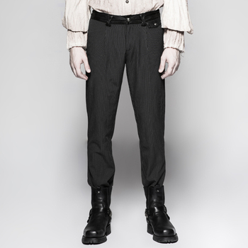 Steampunk men's pinstripe simple trousers black coffee vertical stripes personality zipper waist trousers