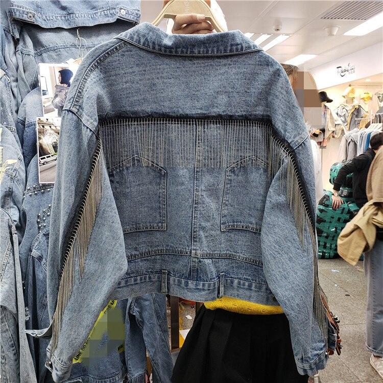 2019 New Short Jacket Coat Ladies Casual Loose Heavy Tassel Edge Thin Denim Jackets Girls Students Cool Streetwear Outfits