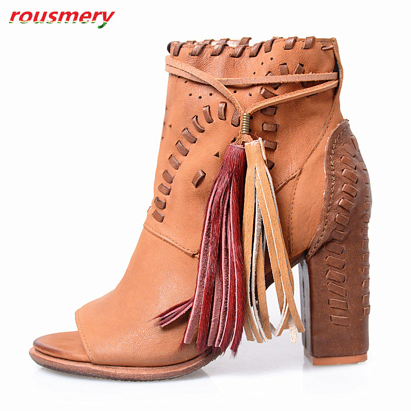Rousmery 2017 New Hot Chunky Cover High Heels Elegent Shoes Woman Peep Toe Summer Sandasl Boots Female Side Zipper Shoes Woman 2015 new brand female elegent style 100