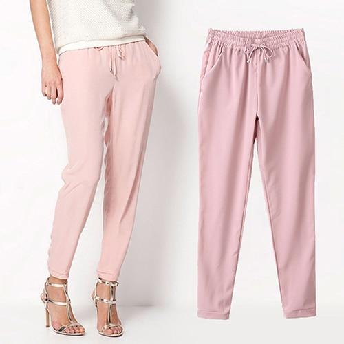 2016 New Women's Casual Solid Color Drawstring Elastic Waist Chiffon Trousers Harem Pants