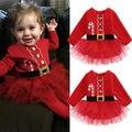 Nova xma santa vermelha outono inverno Bonito Do Natal Da Princesa Da Criança infantil Do Bebê recém-nascido Menina Tulle Vestido Tutu Trajes do Partido Do Traje