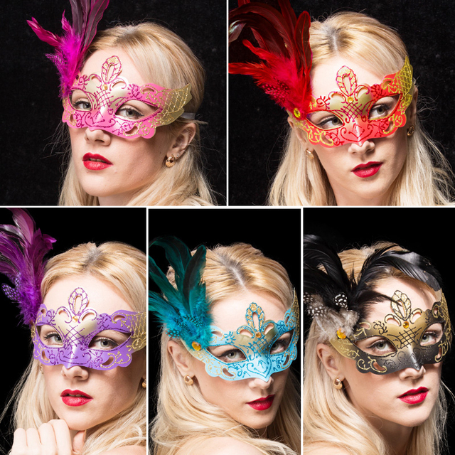 1pcs/ Venice feather side flower mask with party party wedding decoration props Halloween Christmas half face mask Free Shipping