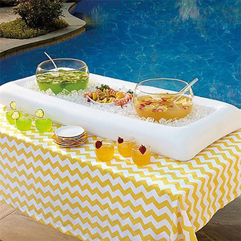 Outdoor Accessories Inflatable Serving Bar Salad Buffet Ice Cooler Picnic Drink Table Party Camping Outdoor Dining Table135*65cm