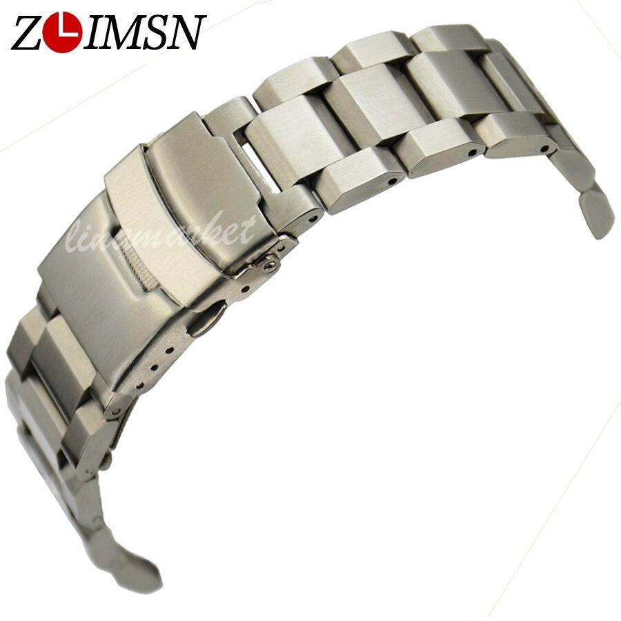 ZLIMSN Gümüş Bilezik Katı Paslanmaz Çelik Kordonlu Saat 18 20 22 - Saat Aksesuarları - Fotoğraf 1