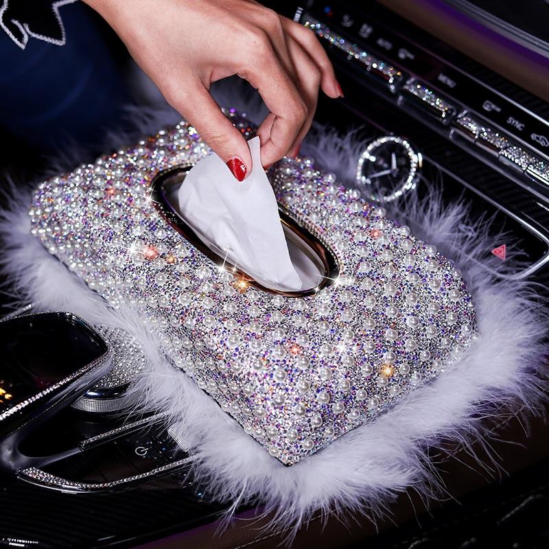 Fashion Tissue Box Rhinestone Crystal Pearl Auto Holder Block-type Car Styling Diamante Cover