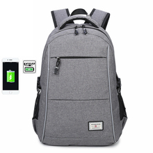 2019 New Fashion Mens Backpack USB Charging Travel Bags Student Large Capacity Double Shoulder School Bag w/ Reflective Stripe