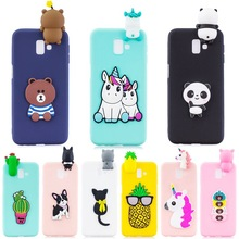 For Samsung J6 Plus Case on for Coque Samsung Galaxy J4 J6 Plus 2018 Case Cover 3D Unicorn Panda Doll Soft Silicone Phone Cases