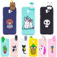 Pour Samsung J6 Plus étui sur pour Coque Samsung Galaxy J4 J6 Plus 2018 étui couverture 3D licorne Panda poupée souple Silicone coques de téléphone