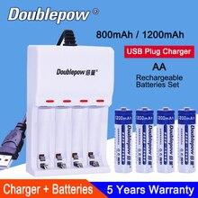 AA Ni-MH Rechargeable Battery  4 Slots USB Charger For AA/AAA 800mAh 1200mAh 2A 5# Portable Box Dropship