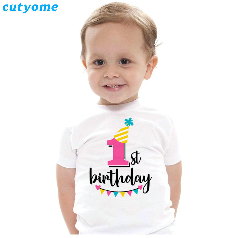 Summer Baby T Shirt Tops Children's Clothing Happy Birthday Girls Boys Short Sleeve Kids Clothes Tee Girls Boys' T-shirts Casual (12)