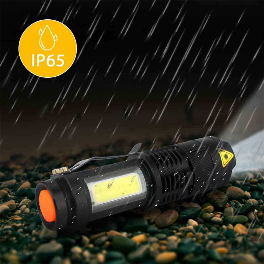 Image 4 - 3800LM XML Q5+COB Portable Ultra Bright Handheld LED Flashlight with Adjustable Focus ZOOM Mini Torch Use AA 14500 Battery-in LED Flashlights from Lights & Lighting