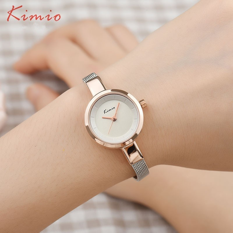 KIMIO Small Round Dial Vävd Mesh Band Quartz Women Watch Känd Luxury Brand 2018 Simple Casual Ladies Armbandsur för kvinnor