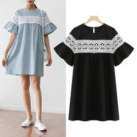 Summer new short sleeve cotton and linen dress women brand clothing Bohemain flowers embroidery mini loose plus size dresses