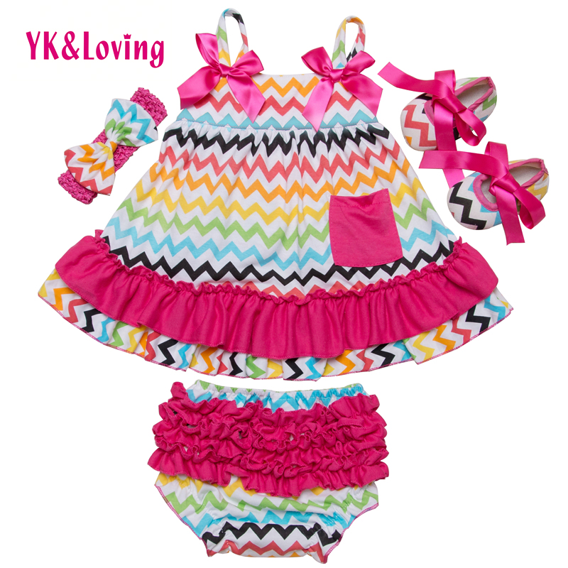 Striped Newborn Ruffles Bloomers Slip in stile estivo Sling Bat Infant con Bow Shoes 4 pezzi Ragazze Baby Clothing Vendita calda