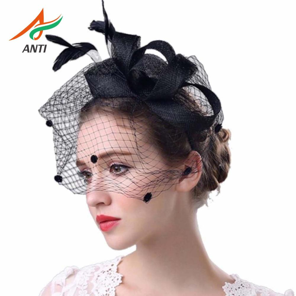 ANTI Hot Selling Fashion Women Fascinator Penny Mesh Hat Ribbons And Feathers Wedding Hat 7.3 Pamelas Y Tocados Para Bodas Gelin