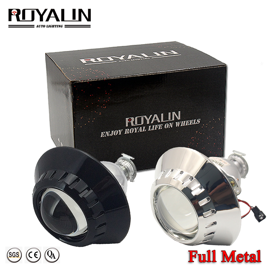 ROYALIN Full Metal Bi Xenon H1 HID Projector Headlights Lens For BMW E46 Headlamp Wagon Sedan Coupe ZKW H4 H7 Auto Retrofits