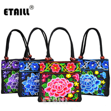 ETAILL 2018 Chinese Style Embroidery Peony Mini Handbag Canvas Ethnic Embroidered Small Tote Bag National Trend Lady carry bag цена 2017