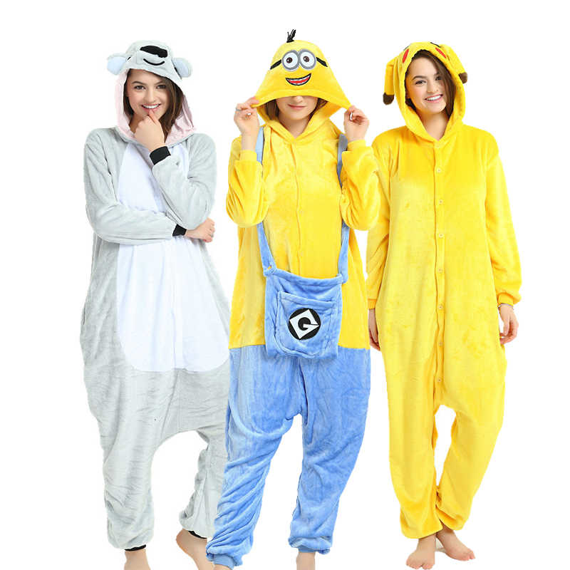 8d9e2856303e Animal Kigurumi Adult Cartoon Onesie Pajamas Flannel Women Men Minion  Cosplay Costume Pokemon Koala Jumpsuit Sleepwear