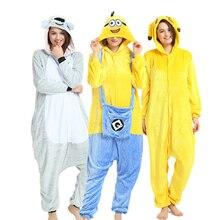 Животных кигуруми взрослых Пижама-комбинезон с героями мультфильмов пижамы  фланель для женщин мужчин Миньон косплэй 8da105d0b6997