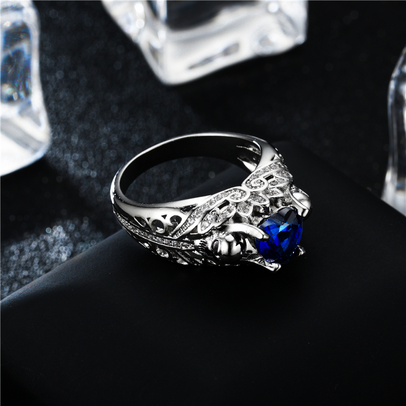 Skull Heart Shape CZ Stone Silver Promise Ring for Women Fashion Jewelry Wedding Gift 1