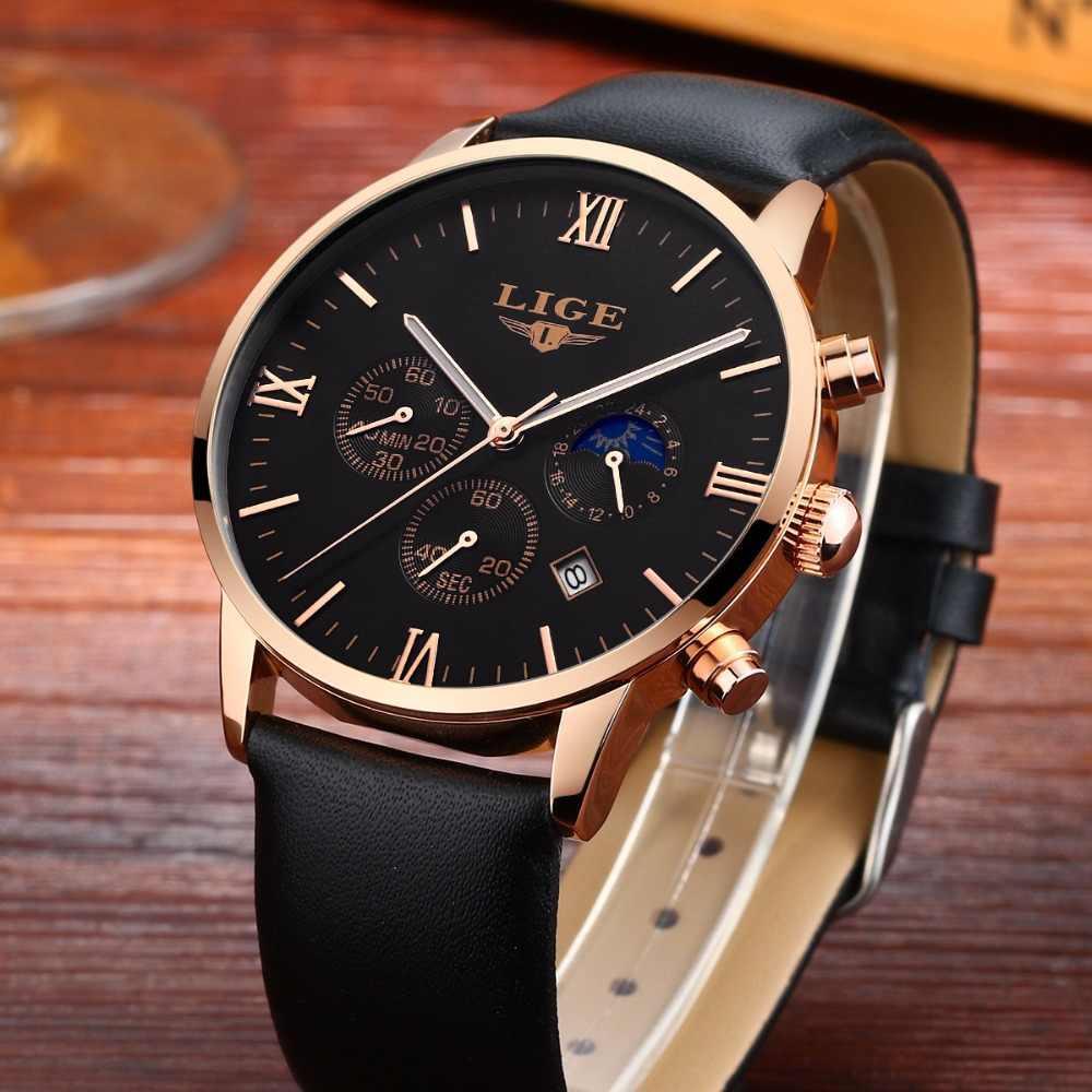 Montres hommes 2017 LIGE Top marque montre à Quartz de luxe homme Sport étanche montre-bracelet en cuir bracelet horloge relogio masculino