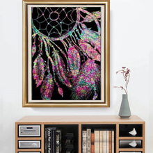 DIY 5D Diamond Painting Catchers Black Bottom Feather Cross Stitch Embroidery Patterns  Mosaic Decoration 30x40