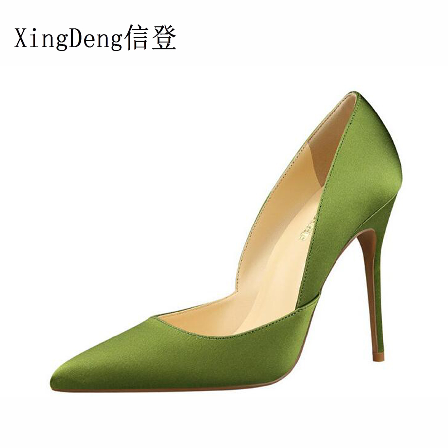 XingDeng Women Satin Pointed Toe Sexy Weding Party Dress Stilettos Office Lady High Heels Pumps Shoes European Design Shoes