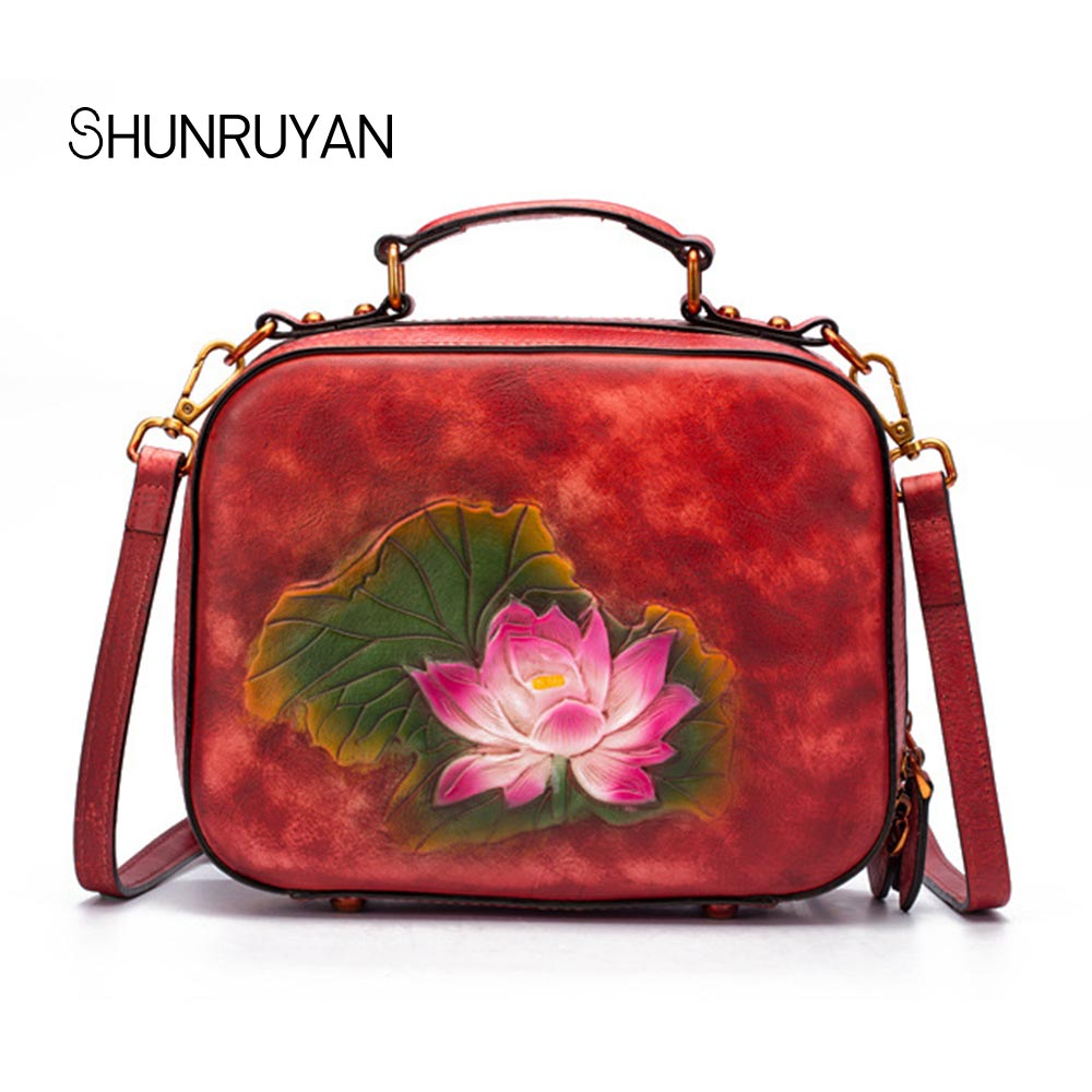 купить SHUNRUYAN fashion European brand ladies package Lotus vintage craft wipe color leather Messenger bag female handbag shoulder bag по цене 6118.42 рублей