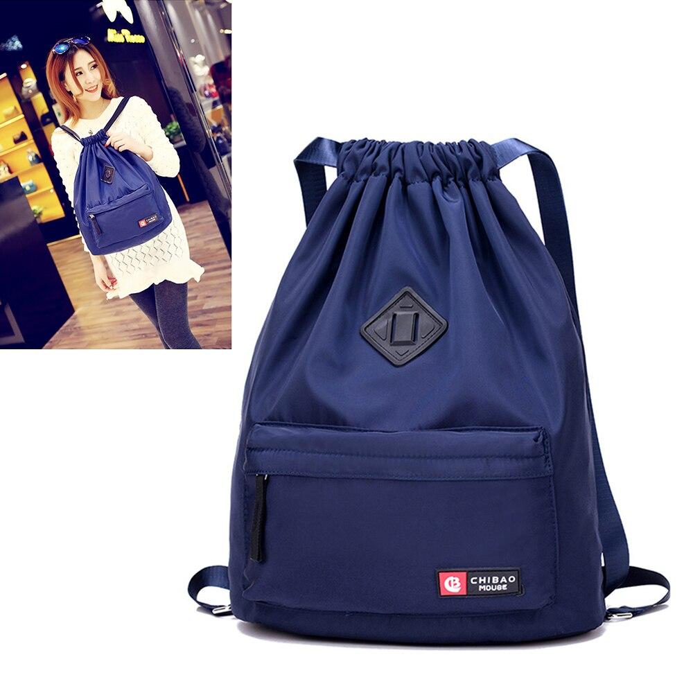 Купить с кэшбэком Women Nylon Waterproof Gym Bag Drawstring Backpack Female Bag for Holiday Gift Yoga Fitness Sports Travel Girls Student Backpack