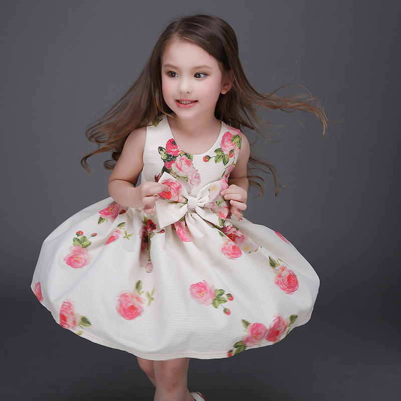 Elegant Girls Dresses For Party Print Flowers Princess TuTu Dress Cute Bow Kids Dress Toddler Children Vestidos Royal Style fashion toddler girls princess dress elegant floral bow vestidos for baby girl winter infant kids cotton lace dresses