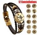 12 знаков зодиака винтажный Бронзовый модный шарм ручной работы ювелирные изделия из кожи двенадцать созвездий Браслет-манжета