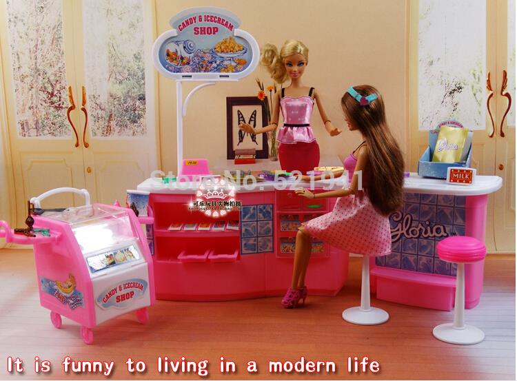 Free Shipping Girl gift plastic Play Set Candy and ice cream shop Gift Set doll accessories doll furniture for barbie doll