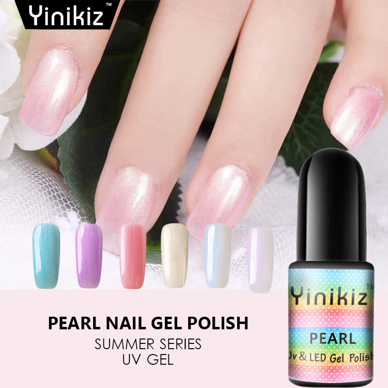 Yinikiz Shell Uv Nail Gel Polish Manicure Mermaid Style Ivory White Pearl Reflective Effect Soak Off Lucky In From Beauty Health On