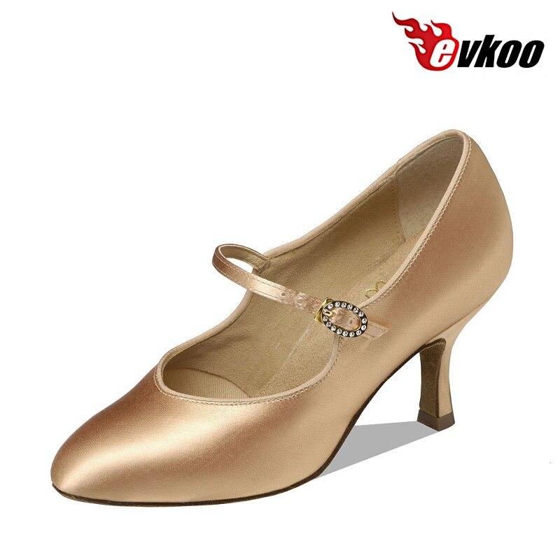 Evkoodance 2017 Modern Dance Shoes For Ladies Khaki And White 7.3cm Elegance Latin Bllroom Dance Shoes For Ladies Evkoo-009
